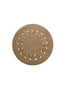French Knot Round Natural Rug 120cm
