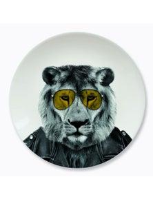 Mustard- Wild Dining- Larry Lion Ceramic Dinner Plate