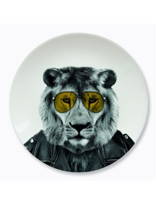 Mustard- Wild Dining- Larry Lion Ceramic Dinner Plate