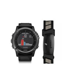 Garmin Fenix 3 GPS Fitness Grey Watch + HRM-Run Strap Bundle