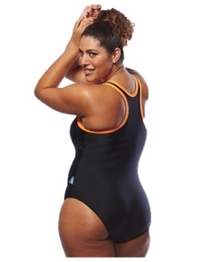 Curvy Chic Sports Racer Back Swimsuit with Front Zip and Coloured Trim