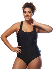 Curvy Chic Sports Racer Back Swimsuit with Front Zip