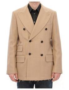 Dolce & Gabbana Beige Double Breasted Coat Jacket