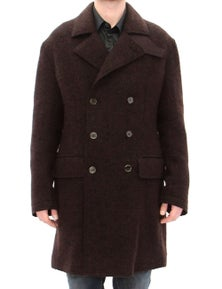 Dolce & Gabbana Brown Double Breasted Long Peacoat Jacket