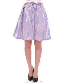 Licia Florio Purple Adjustable Waist Strap A-Line One Size Skirt