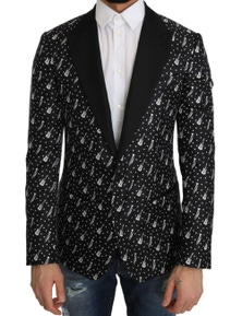 Dolce & Gabbana Black Silk Jazz Guitar Blazer Jacket