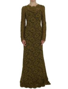 Dolce & Gabbana Olive Green Floral Lace Ricamo Maxi Dress