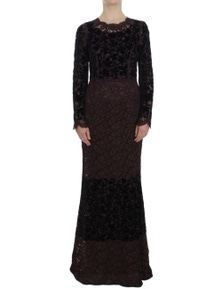 Dolce & Gabbana Purple Floral Lace Ricamo Maxi Dress