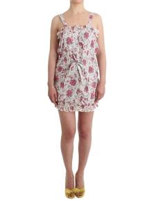 Ermanno Scervino Beachwear Pink Floral Beach Mini Dress Short