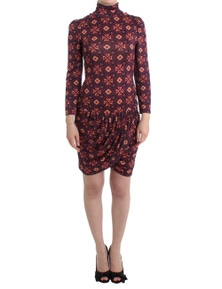 GF Ferre Multicolour Longsleeved Turtleneck Viscose Dress