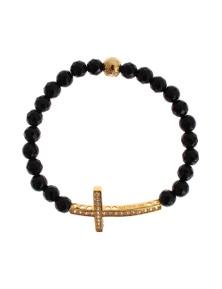 Nialaya Agate Stone Gold CZ Cross 925 Silver Bracelet