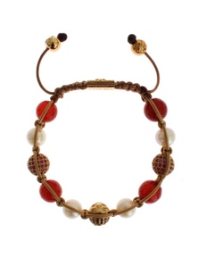 Nialaya CZ Carnelian Pearl 925 Silver Bracelet