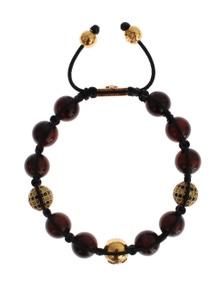 Nialaya CZ Red Tigers Eye Gold 925 Silver Bracelet