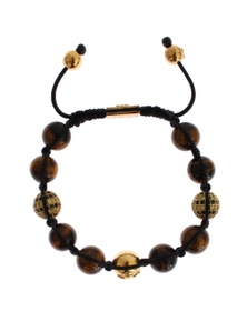 Nialaya CZ Brown Tigers Eye 925 Silver Bracelet
