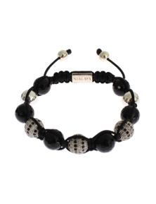 Nialaya Clear CZ Black Agate 925 Silver Bracelet