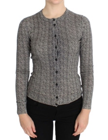 Dolce & Gabbana Black White Wool Top Cardigan Sweater
