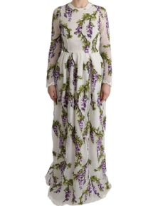 Dolce & Gabbana White Floral Embroidered Maxi Dress
