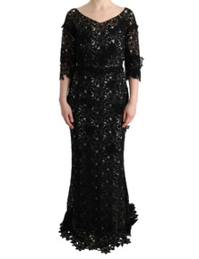 Dolce & Gabbana Black Cotton Silk Floral Long Dress