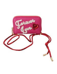 Dolce & Gabbana Pink Forever Love Zipper Leather Coin Purse Wallet
