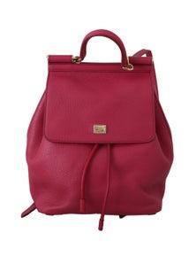 Dolce & Gabbana Pink 100% Leather Backpack Women Borse SICILY Bag