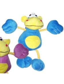 Ahs Plush Monkey w/ Rope Interactive Dog Squeaker Toy Blue