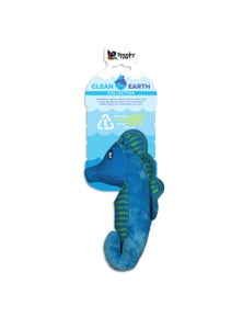 Spunky Pup Clean Earth Plush SeaHorse Dog Squeaker Toy Large