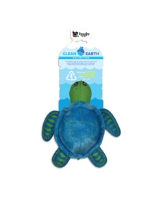 Spunky Pup Clean Earth Plush Turtle Dog Squeaker Toy Small