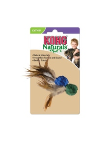 KONG Cat Naturals Crinkle Ball w/ Feathers Toy