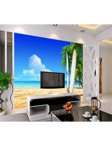 AJ Wallpaper 3D Beach Surfboard 734 Wall Murals Removable Wallpaper Woven Paper