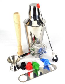 10 Piece Cocktail Shaker Set With Couloured Pourers And A Free Bar Blade