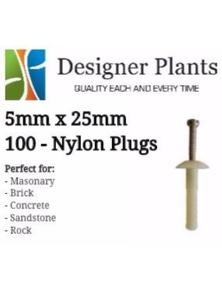 Designer Plants Artificial 5mm x 25mm Nylon Plug 100 Pieces