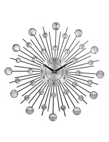 JaydeeBedding Silver Crystal Sunburst Metal Wall Clock