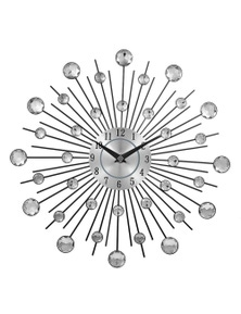 JaydeeBedding Silver Crystal Sunburst Metal Wall Clock
