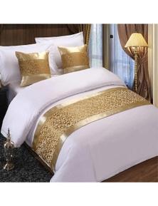 JaydeeBedding Floral Gold Bedspreads Bed Runner