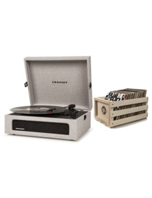 Crosley Voyager Portable Turntable Grey + Free Record Storage Crate