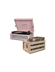 Crosley Voyager Portable Turntable Amethyst Free Record Storage Crate