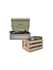 Crosley Voyager Portable Turntable Sage + Free Record Storage Crate