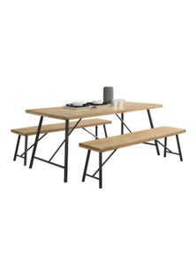Luco Owen 6 Seater 1.6m Solid Wood Dining Table Set with 2 Benches