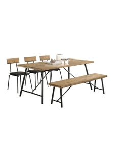 Luco Owen 6 Seater 1.6m Solid Wood Dining Table Set with 1 Bench and 3 Chairs