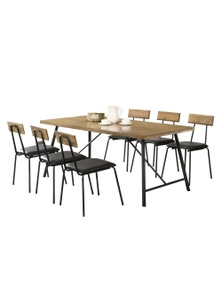 Luco Owen 6 Seater 1.6m Solid Wood Dining Table Set with 6 Chairs