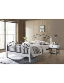 Luco Alexa Bed Frame with Metal Platform Base - Black and White