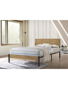 Luco Mica Bed Frame with Metal Platform Base - Maple