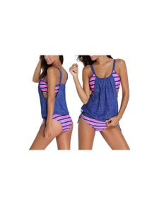 Layered Style Striped Tankini with Briefs