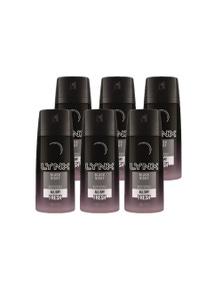 Lynx 100g Body Spray Black Night For Him Mens Deodorant (6 Pack)