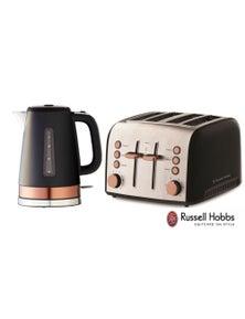 NEW Russell Hobbs Brooklyn 4 Slice Toaster Kettle Set - Black/Copper