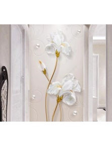 AJ Wallpaper 3D White Flowers 1032 Wall Murals Removable Wallpaper Woven Paper