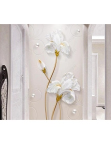 AJ Wallpaper 3D White Flowers 1032 Wall Murals Removable Wallpaper Woven Paper