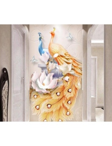 AJ Wallpaper 3D Colored Peacock 1031 Wall Murals Removable Wallpaper Woven Paper