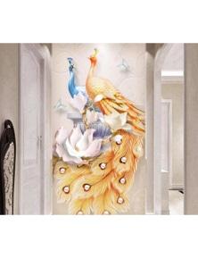 AJ Wallpaper 3D Coloured Peacock 1031 Wall Murals Removable Wallpaper Self-Adhesive Vinyl
