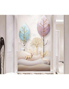 AJ Wallpaper 3D Colored Leaves 982 Wall Murals Removable Wallpaper Woven Paper